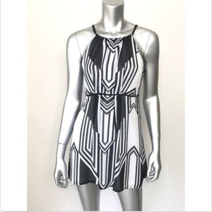 Cache Dress Sleeveless Geometric Print Empire